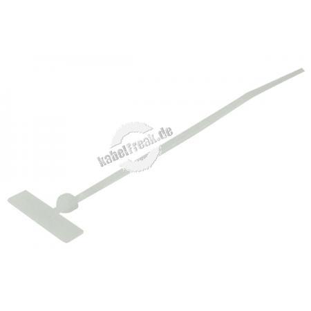 Kabelbinder mit Beschriftungsfeld (quer), 110 x 2,5 mm, naturfarben, VE 100 Stück Zum Bündeln und Befestigen von Kabeln, mit Beschriftungsfeld zum Kennzeichnen