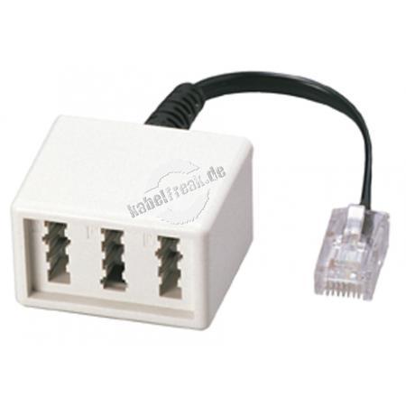 MetzConnect Adapterkabel RJ45 Stecker (8P2C) an TAE NFN Buchse, VE 10 Stück Zum Anschluss von 1 Telefon mit TAE F Stecker und 2 Zusatzgeräten mit TAE N Stecker an die strukturierte Gebäudeverkabelung
