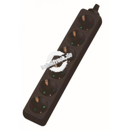 Dexlan Steckdosenleiste 6-fach, Anschlussleitung 1,5 m, schwarz