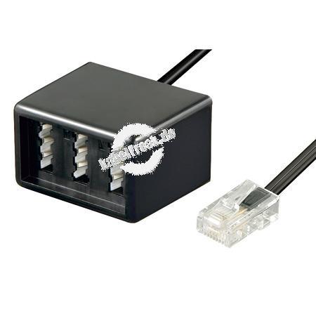 Adapterkabel RJ45 Stecker (8P4C) an TAE NFF Buchse Zum Anschluss von 2 Telefonen mit TAE F Stecker und 1 Zusatzgerät mit TAE N Stecker an die strukturierte Gebäudeverkabelung