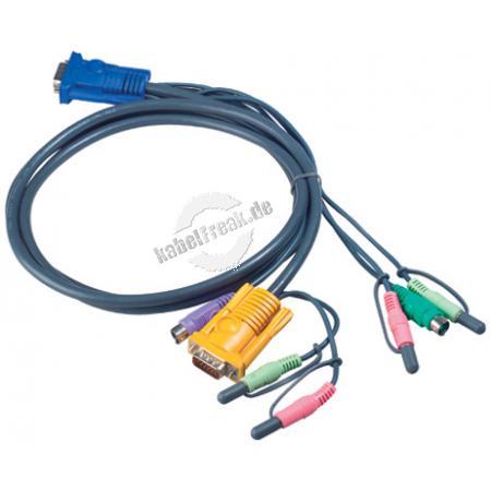 Oktopuskabel PS/2 mit Audio, 5,0 m Anschlusskabel für KVM-Switch 217CS1754 und 217CS1758 zum Anschluss an PCs mit PS/2 Anschluss