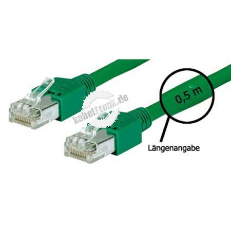 Tecline Patchkabel Cat. 5e, SF/UTP, halogenfrei, grün, 1,5 m Kupferpatchkabel mit Draka Rohkabel und Hirose Steckern