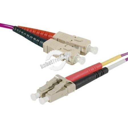 LWL Patchkabel HD, 50/125 μm, OM4-Faser, SC Duplex Stecker/LC Duplex Stecker, erika-violet, 1,0 m UPC UPC-Schliff