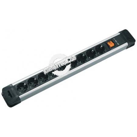 Bachmann Steckdosenleiste 'Connectus', 9-fach, mit Schalter, Anschlussleitung 2,0 m, schwarz 4016514013685/ silber