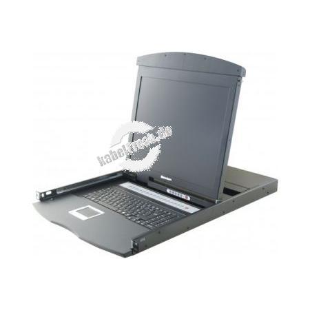 Dexlan 19' Rackmount Dual Rail KVM Konsole 19'' LCD Bildschirm mit KVM Switch  Zur Bedienung von bis zu 16 lokalen Servern mit hoher Grafikauflösung