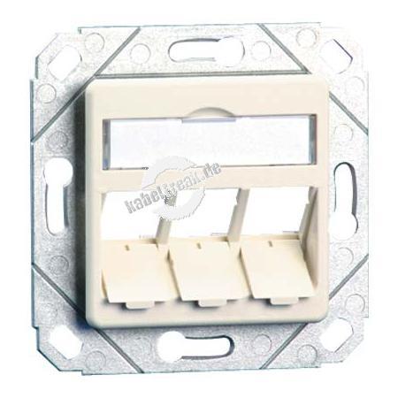 MetzConnect Datendose E-DAT modul, unbestückt, 3-fach, Kanaleinbau, reinweiß RAL 9010 Zum Anschluss von bis zu 3 PCs