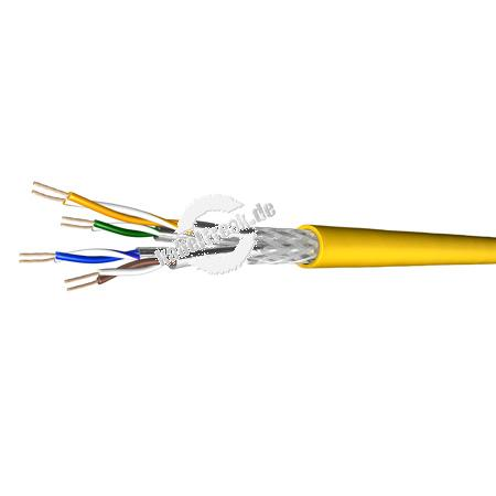 Draka Patchkabel UC900 SS27, Cat. 7, S/FTP (PiMF), halogenfrei, gelb, 100 m Ring Paarweise und gesamtgeschirmtes Patchkabel