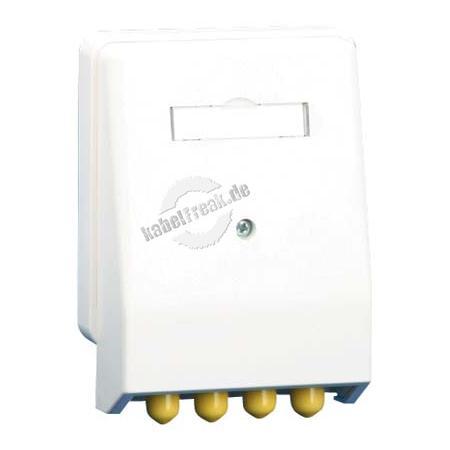 MetzConnect LWL Datendose, 4-fach ST, Multimode, Aufputz / Unterputz, reinweiß RAL 9010 Anschlussdose für 2 LWL-Komponenten