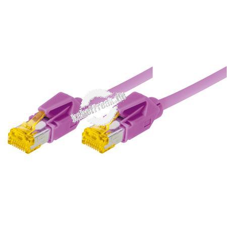 Tecline Patchkabel Cat. 6A (ISO/IEC), S/FTP, halogenfrei, mit Rastnasenschutz, erikaviolett, 0,3 m 10-Gigabit-fähiges Premiumpatchkabel mit Draka Cat. 7 Rohkabel
