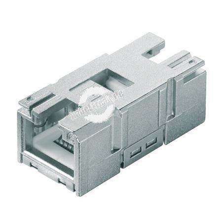 MetzConnect E-DAT Industry RJ45 Buchseneinsatz für IP67 Flanschgehäuse, System Steadytec, VE 10 Stück Buchseneinsatz, Anschluss im Gehäuse-Inneren an Patchkabel (RJ45 Buchse)