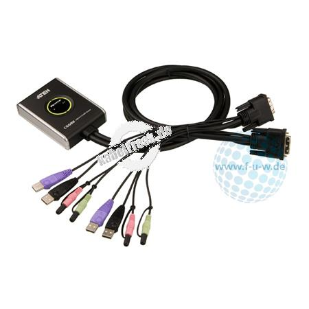ATEN DVI USB Kompakt KVM Switch CS682 mit Audio, 2-fach 2 PCs werden von 1 Arbeitsplatz (USB Tastatur, DVI Monitor, USB Maus, Lautsprecher, Mikrofon, USB 2.0 Peripheriegeräte) gesteuert (getrennte Umschaltung von KVM und Audio möglich!)