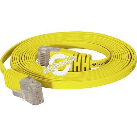 High Quality Flachband Patchkabel Cat. 6, U/UTP, gelb, 0,5 m Ideal für die Verlegung unter Fußleisten, Teppichböden, Laminat und anderen Bodenbelägen