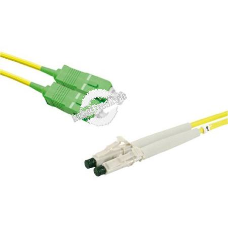 LWL Patchkabel Single-Mode OS2-Faser, 9/125 μm, gelb,  SC APC 8° Duplex Stecker / LC UPC Duplex Stecker, 2,0 m APC Schliff