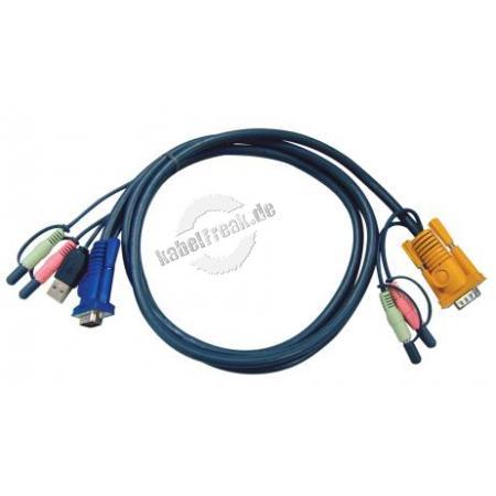 Oktopuskabel USB mit Audio, 3,0 m Anschlusskabel für KVM-Switch 217CS1754 und 217CS1758 zum Anschluss an PCs mit USB Anschluss