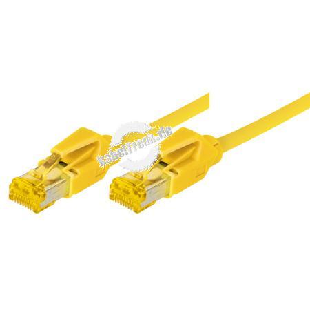 Tecline Patchkabel Cat. 6A (ISO/IEC), S/FTP, halogenfrei, mit Rastnasenschutz, gelb, 3,0 m 10-Gigabit-fähiges Premiumpatchkabel mit Draka Cat. 7 Rohkabel
