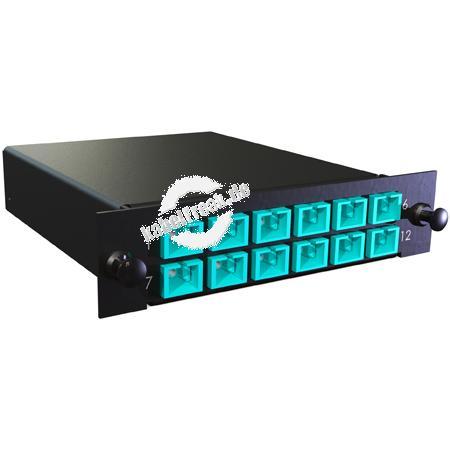 MTP / MPO Kassette, Fanout 900 µm Multimode OM3, 1x MTP(M) / 12x SC farbig, 12x SC Simplex-Kupplung aqua, Gehäuse schwarz RAL 9005 Kassette mit Fanout und LWL-Kupplungen zum Einbau in der Verteilerbox