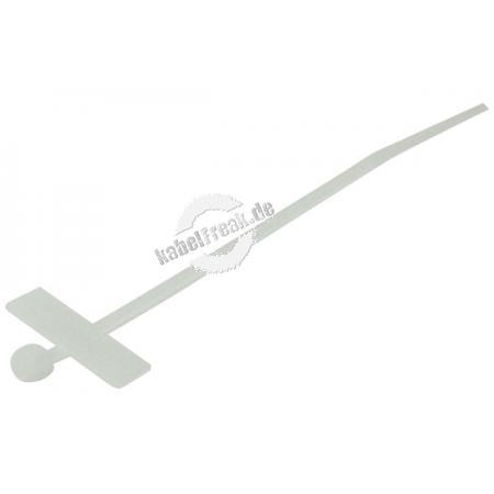 Kabelbinder mit Beschriftungsfeld (quer), 100 x 2,5 mm, naturfarben, VE 100 Stück Zum Bündeln und Befestigen von Kabeln, mit Beschriftungsfeld zum Kennzeichnen