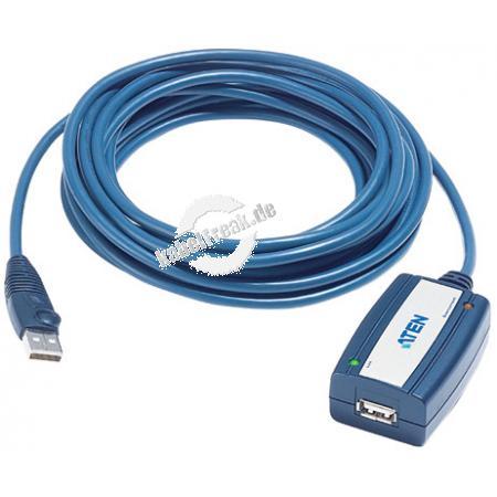 ATEN Aktives USB 2.0 Verlängerungskabel, USB St. A/Bu. A, 5,0 m Zum Verlängern eines USB Anschlusskabels auf mehr als 5 m