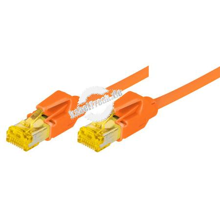 Tecline Patchkabel Cat. 6A (ISO/IEC), S/FTP, halogenfrei, mit Rastnasenschutz, orange, 5,0 m 10-Gigabit-fähiges Premiumpatchkabel mit Draka Cat. 7 Rohkabel