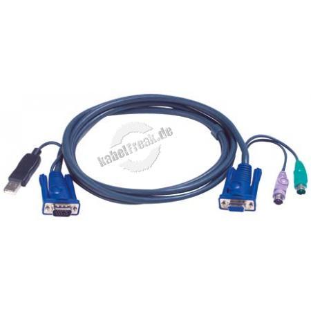 KVM Kombikabel, PS/2 St./USB St., S-VGA St./Bu., 1,8 m Zum Anschluss dafür geeigneter KVM-Switche mit PS/2 Anschluss an einen PC mit USB-Anschluss