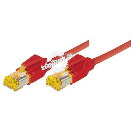 Tecline Patchkabel Cat. 6A (ISO/IEC), S/FTP, halogenfrei, mit Rastnasenschutz, rot, 0,3 m 10-Gigabit-fähiges Premiumpatchkabel mit Draka Cat. 7 Rohkabel