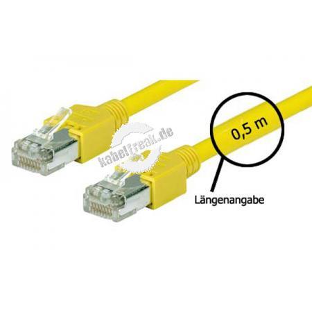 Tecline Patchkabel Cat. 5e, SF/UTP, halogenfrei, gelb, 1,5 m Kupferpatchkabel mit Draka Rohkabel und Hirose Steckern