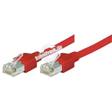 Tecline Patchkabel Cat. 5e, SF/UTP, halogenfrei, rot, 1,0 m Kupferpatchkabel mit Draka Rohkabel und Hirose Steckern
