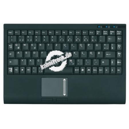 Keysonic Mini-Tastatur ACK-540 U+ mit Touchpad, USB, schwarz Mini-Tastatur mit integriertem Touchpad, angenehmer Soft-Skin-Beschichtung, flacher Bauform und geringen Abmessungen