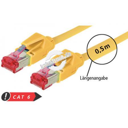 Patchkabel S/FTP, PiMF, CAT.6A EIA/TIA, Class EA, gelb, 1,5 m Premium Patchkabel, Draka 1000MHz CAT.7 Rohkabel, Hirose TM21 Stecker, halogenfrei