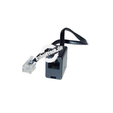 Modular-Verlängerungskabel, RJ11 St. (6P4C) / RJ11 Bu. (6P4C), schwarz, 10,0 m Zum Verlängern des Anschlusskabels von Telefonen, Faxgeräten undModems