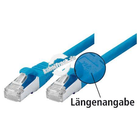 Patchkabel Cat. 5e, SF/UTP, mit Rastnasenschutz, blau, 0,25 m Geschirmtes Patchkabel mit schmalem Knickschutz