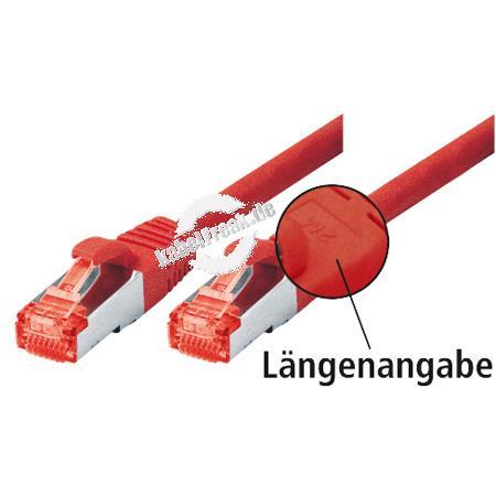 Tecline Patchkabel Cat. 6, S/FTP (PiMF), halogenfrei, mit Rastnasenschutz, rot, 3,0 m Geschirmtes Patchkabel mit schmalem Knickschutz