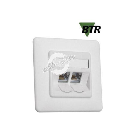 MetzConnect Datendose C6Amodul, Cat.6A (ISO), 270°, 2-fach, Unterputz, reinweiß RAL 9010 Zum Anschluss von einem PC