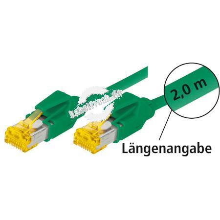 Tecline Patchkabel Cat. 6A (ISO/IEC), S/FTP (PiMF), halogenfrei, mit Rastnasenschutz, grün, 7,5 m 10-Gigabit-fähiges Premiumpatchkabel mit Leoni Cat. 7 Rohkabel und Hirose Steckern