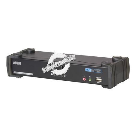 ATEN DVI KVM Switch mit 7.1 Audio, NVIDIA 3D, USB, 2-fach, Desktop, mit Anschlusskabeln 2 PCs mit USB-Anschluss werden von 1 Arbeitsplatz (USB Tastatur, DVI Monitor, USB Maus, 7.1 Kanal Audio, 2 USB Peripheriegeräte) gesteuert
