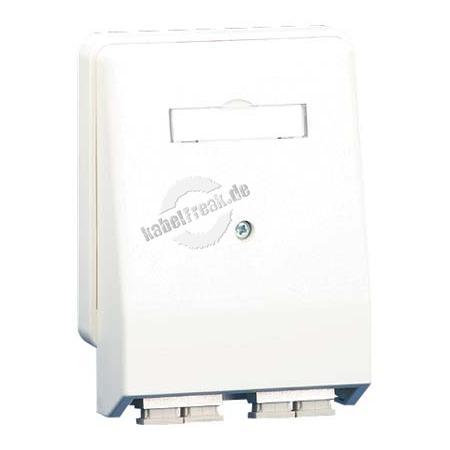 MetzConnect LWL Datendose, 2-fach SC Duplex, Multimode, Aufputz / Unterputz, reinweiß RAL 9010 Anschlussdose für 2 LWL-Komponenten