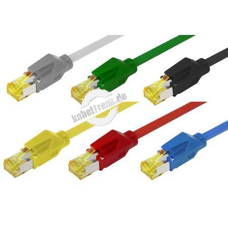 Patchkabel S/FTP, PiMF, CAT.6A ISO IEC, blau, 7,5 m Premium Patchkabel, Dätwyler 1200MHz CAT.7 Rohkabel, Hirose TM31 Stecker, halogenfrei