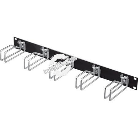 Rittal 19' Rangierfrontplatte, 1 HE, 5 Kabelrangierbügel 43 x 55 mm (Metall), schwarz RAL 9005