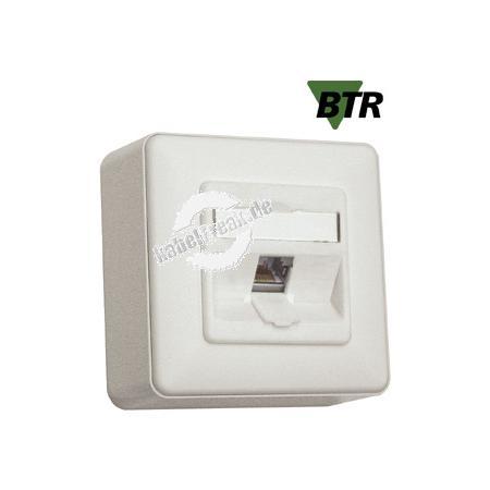 MetzConnect Datendose E-DAT modul, Cat.6A, 1-fach, Aufputz, perlweiß RAL 1013 Zum Anschluss von einem PC