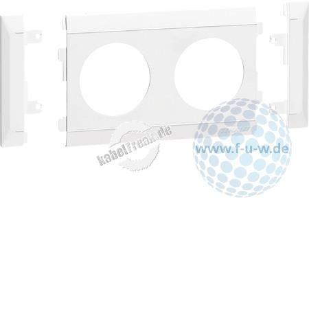 Hager Steckdosenblende für Brüstungskanal tehalit.BRN, 2-fach cremeweiß RAL 9001, modular anreihbar, G35009001