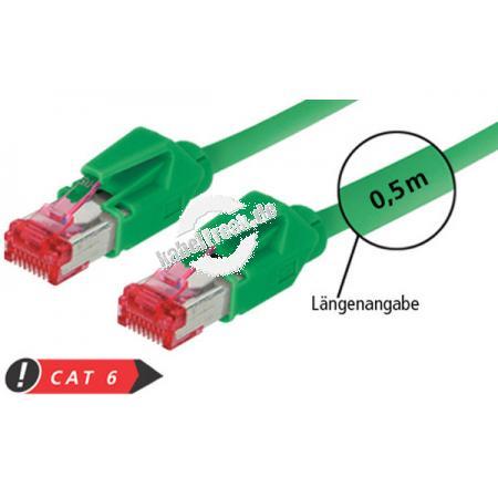 Patchkabel S/FTP, PiMF, CAT.6A EIA/TIA, Class EA, grün, 1,5 m Premium Patchkabel, Draka 1000MHz CAT.7 Rohkabel, Hirose TM21 Stecker, halogenfrei