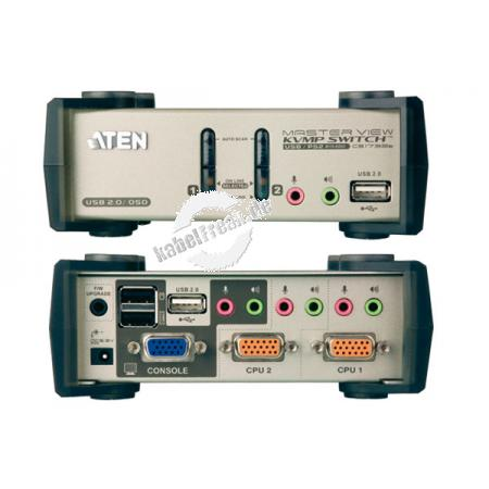 ATEN KVM Switch mit Audio, USB 2.0 und PS/2, 2-fach, OSD, Desktop, mit Anschlusskabeln Mehrere Pcs mit USB- oder PS/2-Anschluss werden von 1 Arbeitsplatz(USB oder PS/2 Tastatur, Monitor, USB oder PS/2 Maus) gesteuert