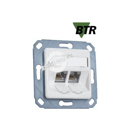 MetzConnect Datendose C6Amodul, Cat.6A (ISO), 270°, 2-fach, Kanaleinbau, reinweiß RAL 9010 Zum Anschluss von einem PC