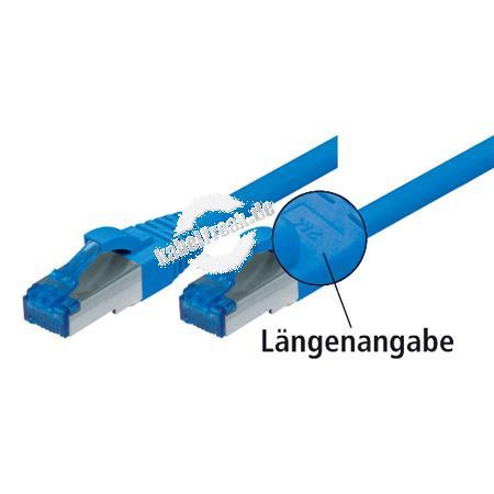 Patchkabel S/FTP (PIMF), CAT.6A EIA/TIA, Class EA, blau, 3,0 m Für 10 Gigabit/s, halogenfrei, mit besonders schmalem Knickschutz