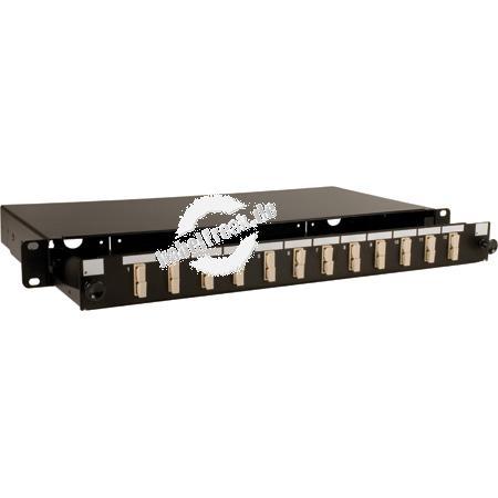 LWL Spleißbox, 12-fach SC-Duplex, inklusive SC Duplex-Kupplungen, Multimode, 19', ausziehbar, schwarz RAL 9004 Mit Kupplungen bestückte Spleißbox zum Anschluss vorkonfektionierter LWL-Installationskabel oder Pigtails