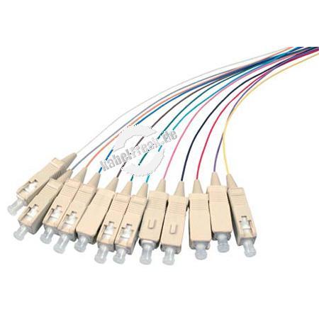 LWL Faserpigtails, farbig, 50/125 µm, OM4-Faser, 12x SC Stecker erikaviolett, 2,0 m 12 SC Faserpigtails mit farbiger Codierung zum Einbau in Spleißboxen