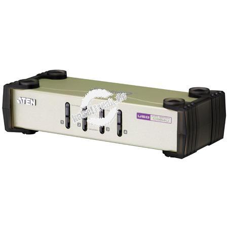 ATEN KVM Switch CS84U, PS/2 und USB, 4-fach, Desktop, mit Anschlusskabeln Mehrere Pcs mit USB- oder PS/2-Anschluss werden von 1 Arbeitsplatz(USB oder PS/2 Tastatur, Monitor, USB oder PS/2 Maus) gesteuert