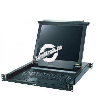 ATEN Arbeitskonsole 43 cm (17') ( TFT Konsole, Rackmaster ), PS/2, US-Layout Tastatur mit 43 cm (17') LCD-Bildschirm zum Einbau im 19' Schrank