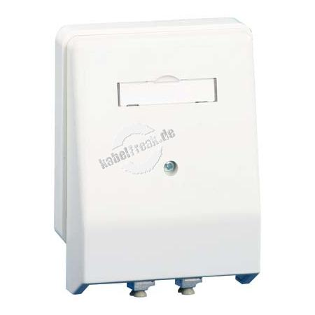 MetzConnect LWL Datendose, 2-fach LC Duplex, Multimode, Aufputz / Unterputz, reinweiß RAL 9010 Anschlussdose für 2 LWL-Komponenten
