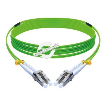 LWL Patchkabel HD, 50/125 μm, OM5-Faser, LC Duplex Stecker/ Stecker, UPC, lindgrün, 3,0 m UPC-Schliff